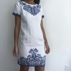 NWT Talbots white linen blue embroidered dress 4 P